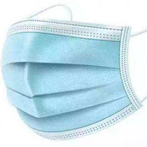 3 Ply Non Medical 50-Piece Disposable Face Mask With Elastic Blue/White